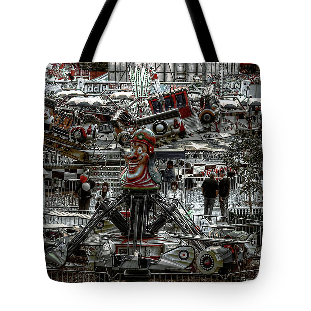 People Tote Bag featuring the photograph Fairground Narrative by Wayne Sherriff