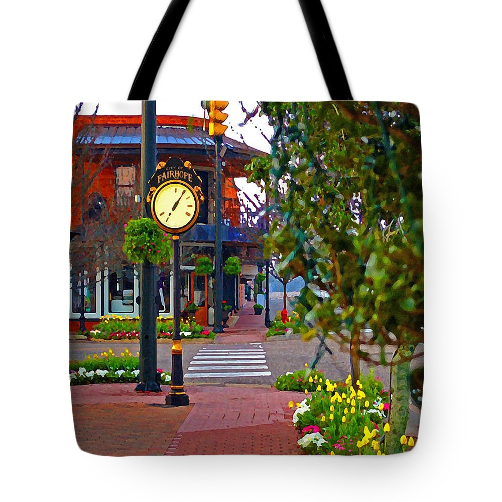 Fairhope Tote Bag featuring the painting Fairhope Ave with Clock down Section Street by Michael Thomas