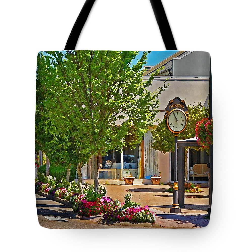 Fairhope Tote Bag featuring the painting Fairhope Ave With Clock Looking North Up Section Street by Michael Thomas