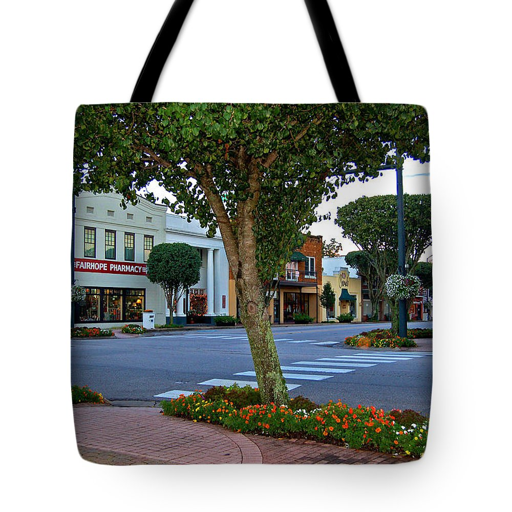 Fairhope Tote Bag featuring the painting Fairhope Ave With Clock by Michael Thomas