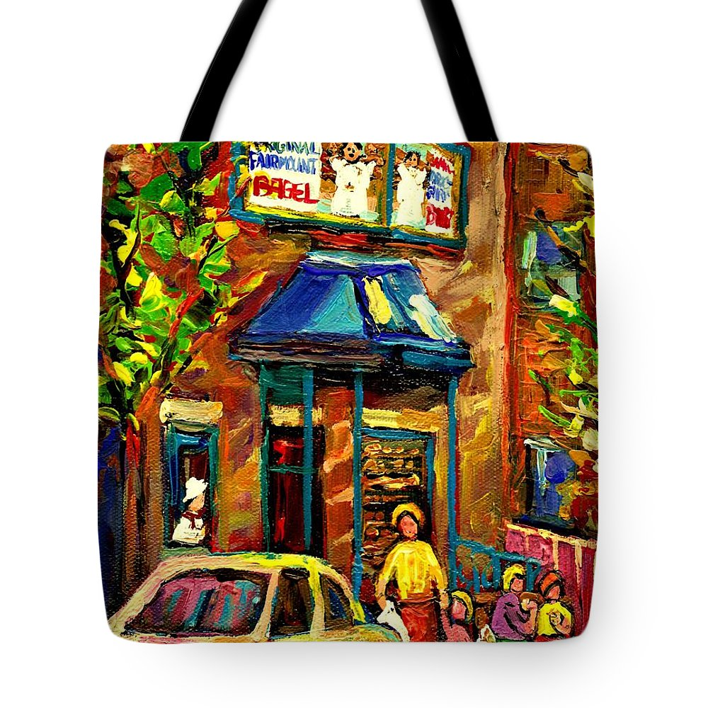Fairmount Bagel Tote Bag featuring the painting Fairmount Bagel In Montreal by Carole Spandau