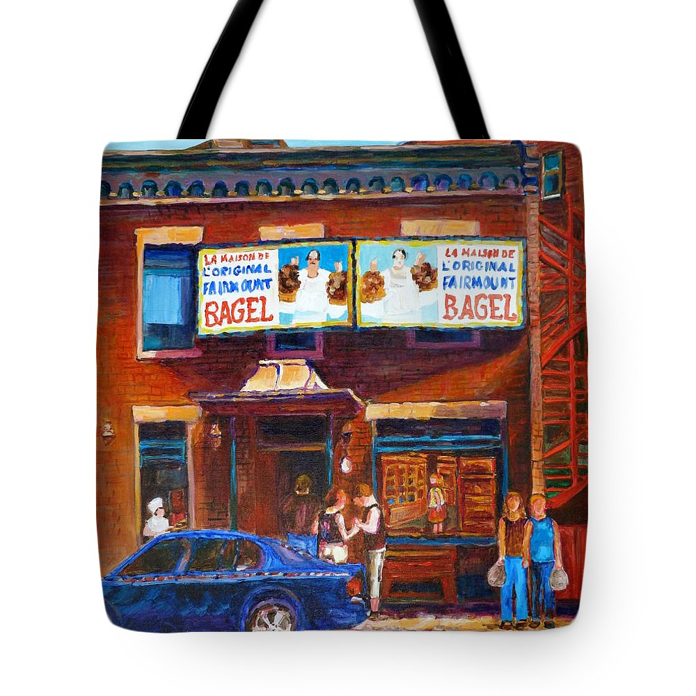 Fairmount Bagel Tote Bag featuring the painting Fairmount Bagel With Blue Car by Carole Spandau