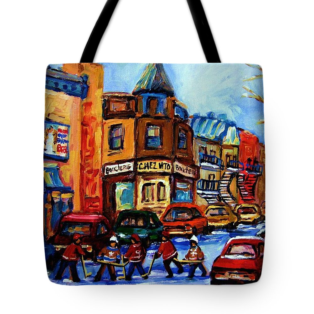 Hockey Tote Bag featuring the painting Fairmount Bagel With Hockey Game by Carole Spandau