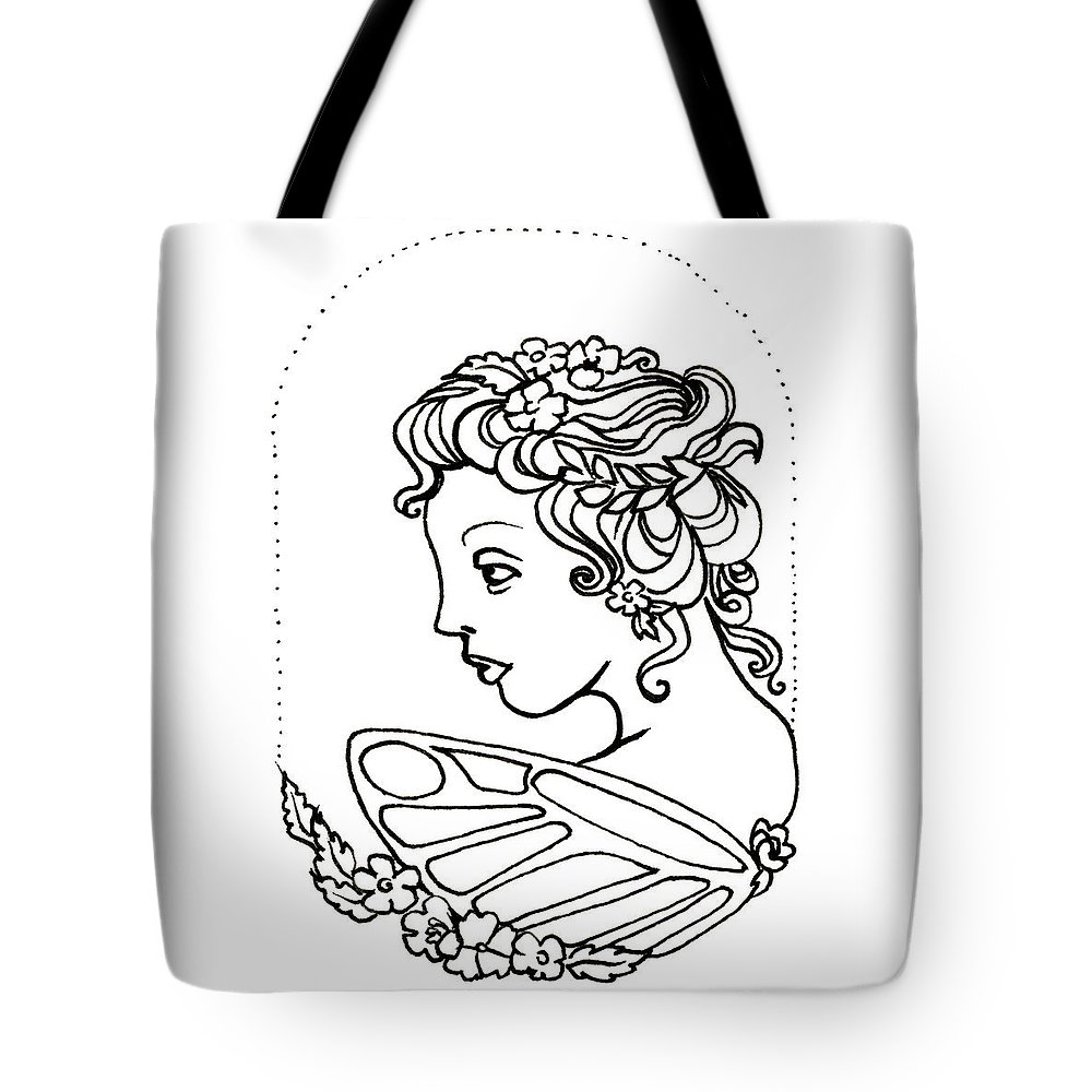Fairy Tote Bag featuring the drawing Fairy Cameo by Katherine Nutt