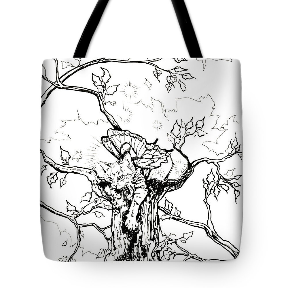 Cat Tote Bag featuring the drawing Fairy Cat Climber by Katherine Nutt