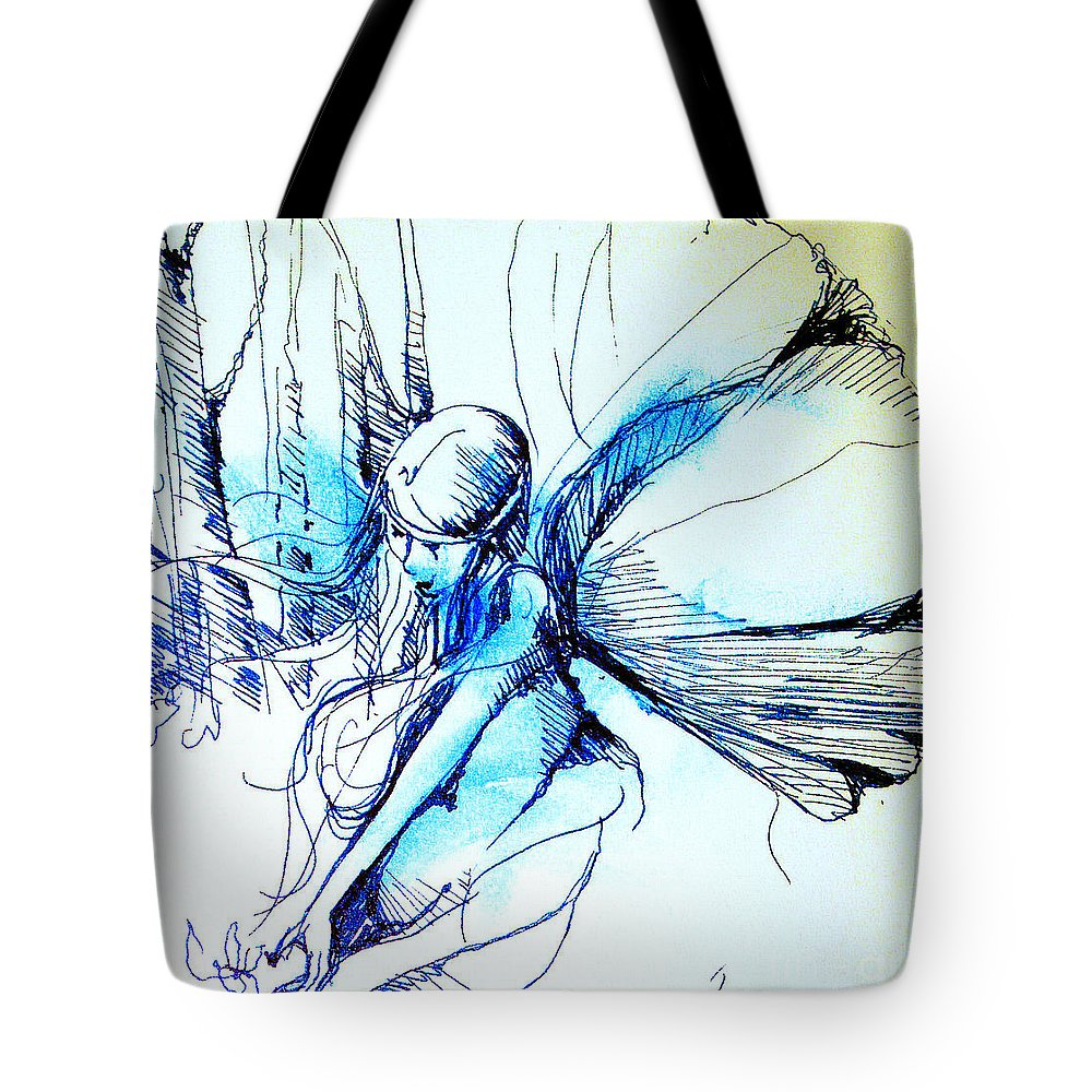 Fairy Tote Bag featuring the drawing Fairy Doodles by Linda Shackelford
