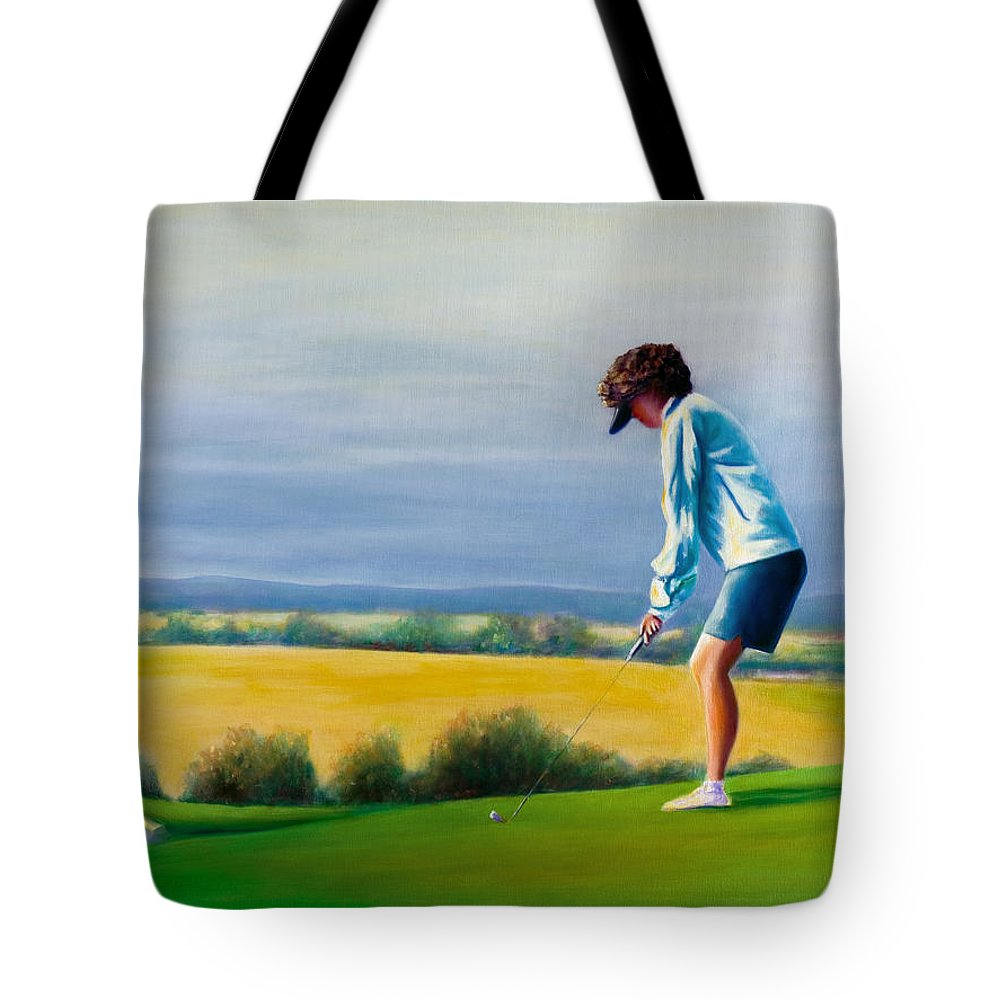 Golfer Tote Bag featuring the painting Fairy Golf Mother by Shannon Grissom