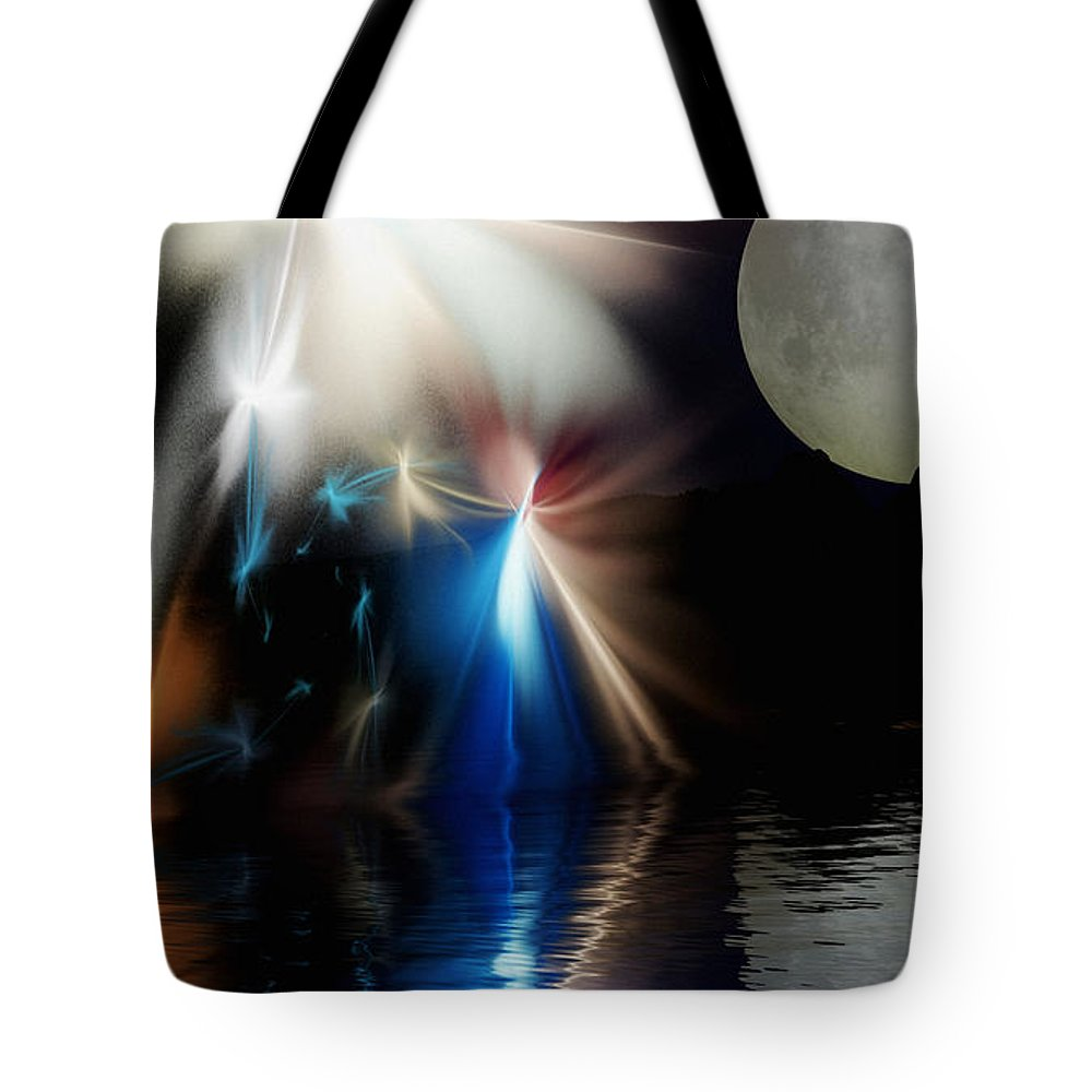 Digital Painting Tote Bag featuring the digital art Fairy's Moonlight Ball by David Lane