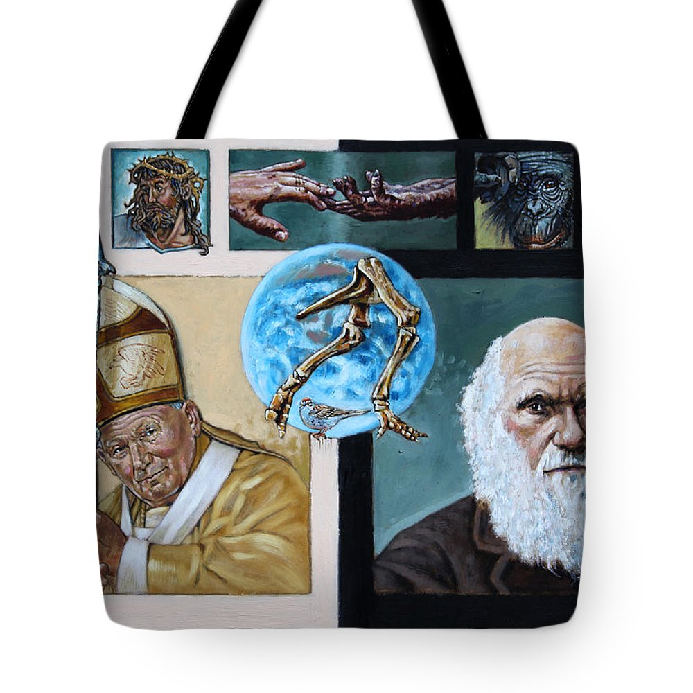 Pope John Paul Tote Bag featuring the painting Faith And Evolution by John Lautermilch