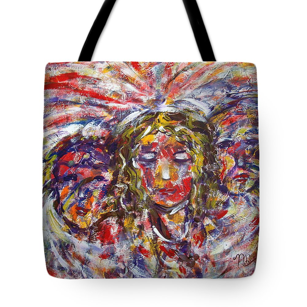 Woman Tote Bag featuring the painting Faith Hope And Love by Natalie Holland