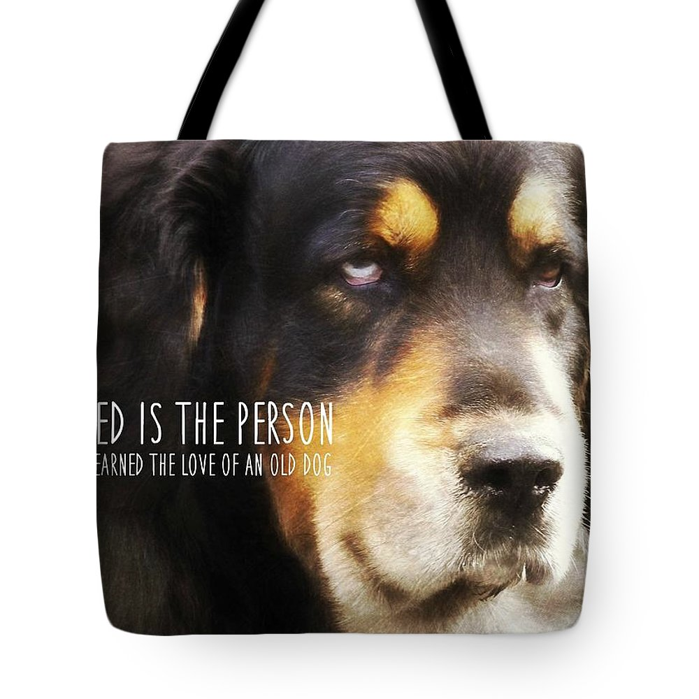 Dog Tote Bag featuring the photograph Faithful Quote by JAMART Photography