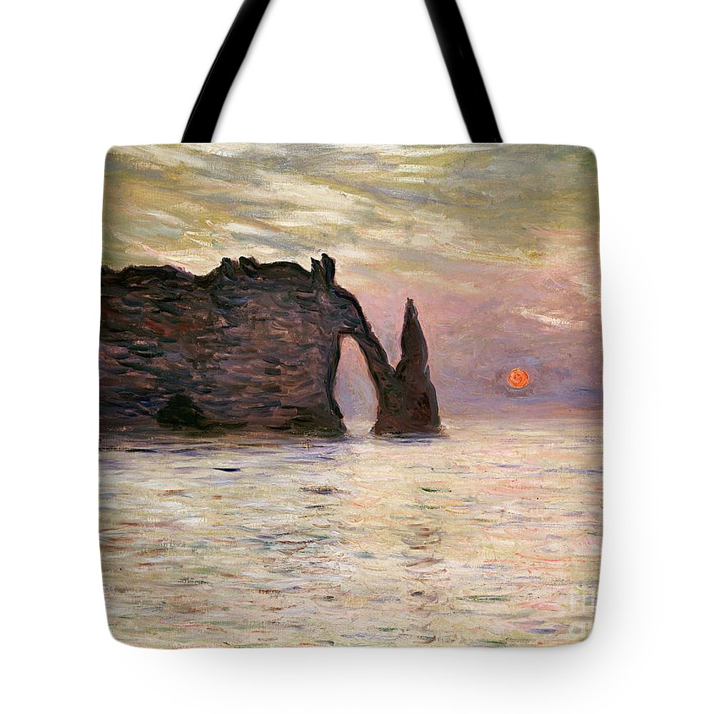 Falaise Tote Bag featuring the painting Falaise Detretat by Claude Monet