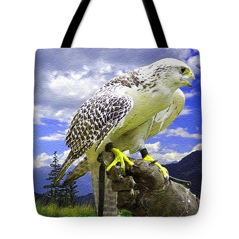 Rural Tote Bag featuring the painting Falcon Being Trained H B by Gert J Rheeders