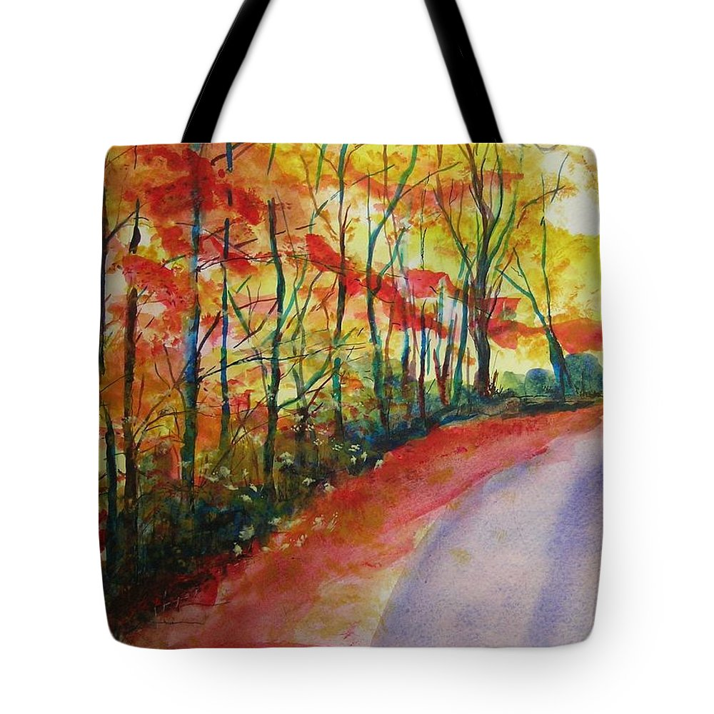 Abstract Landscape Tote Bag featuring the painting Fall Abstract by Lizzy Forrester