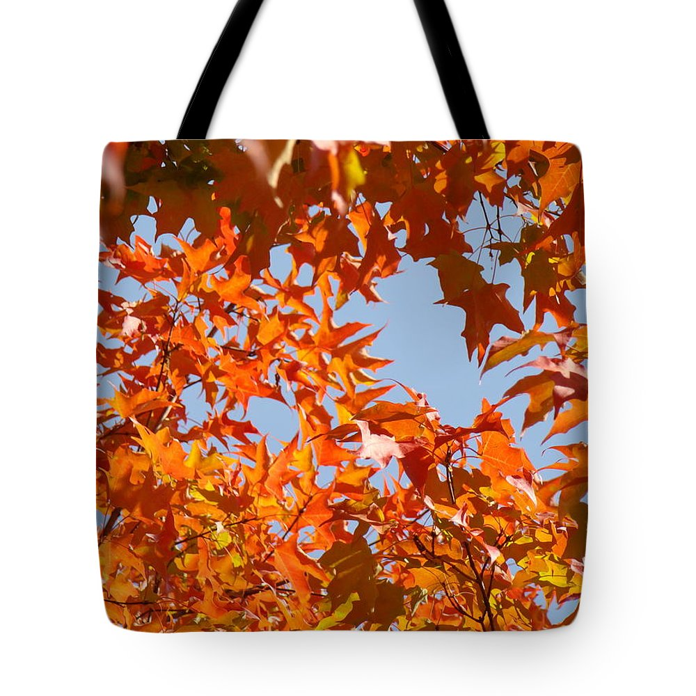 Autumn Tote Bag featuring the photograph Fall Art Prints Orange Autumn Leaves Baslee Troutman by Baslee Troutman
