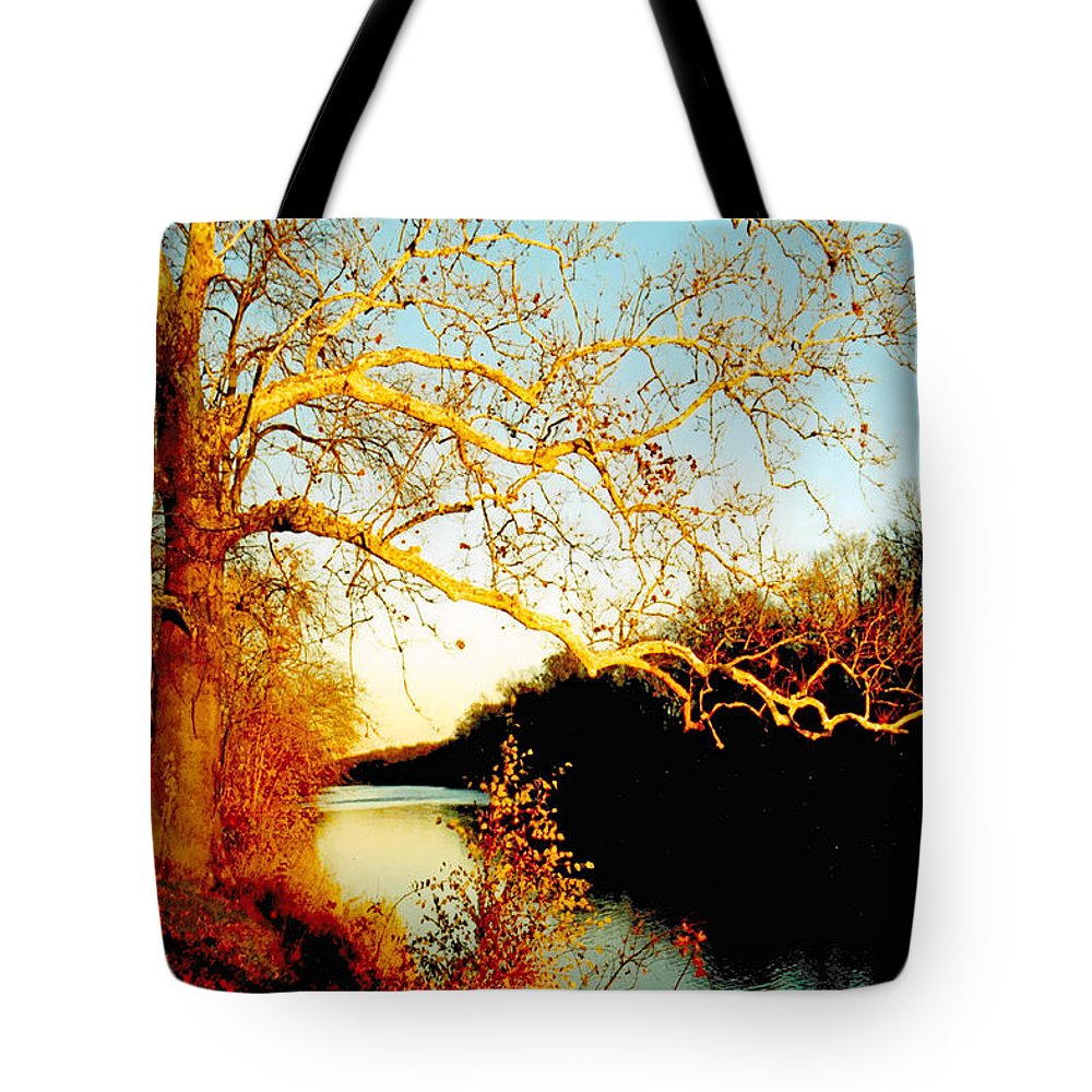 River Tote Bag featuring the photograph Fall At The Raritan River In New Jersey by Christine Till
