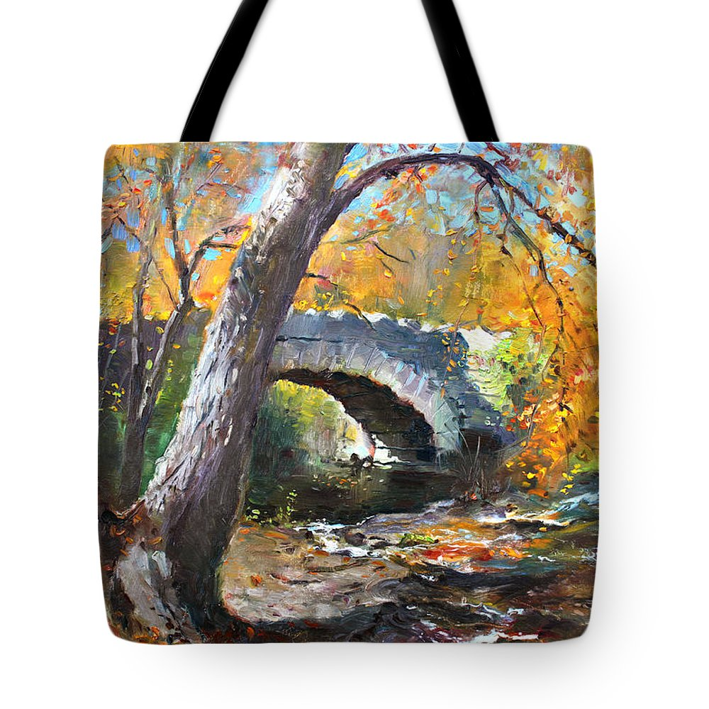 Bridge Tote Bag featuring the painting Fall At Three Sisters Islands by Ylli Haruni