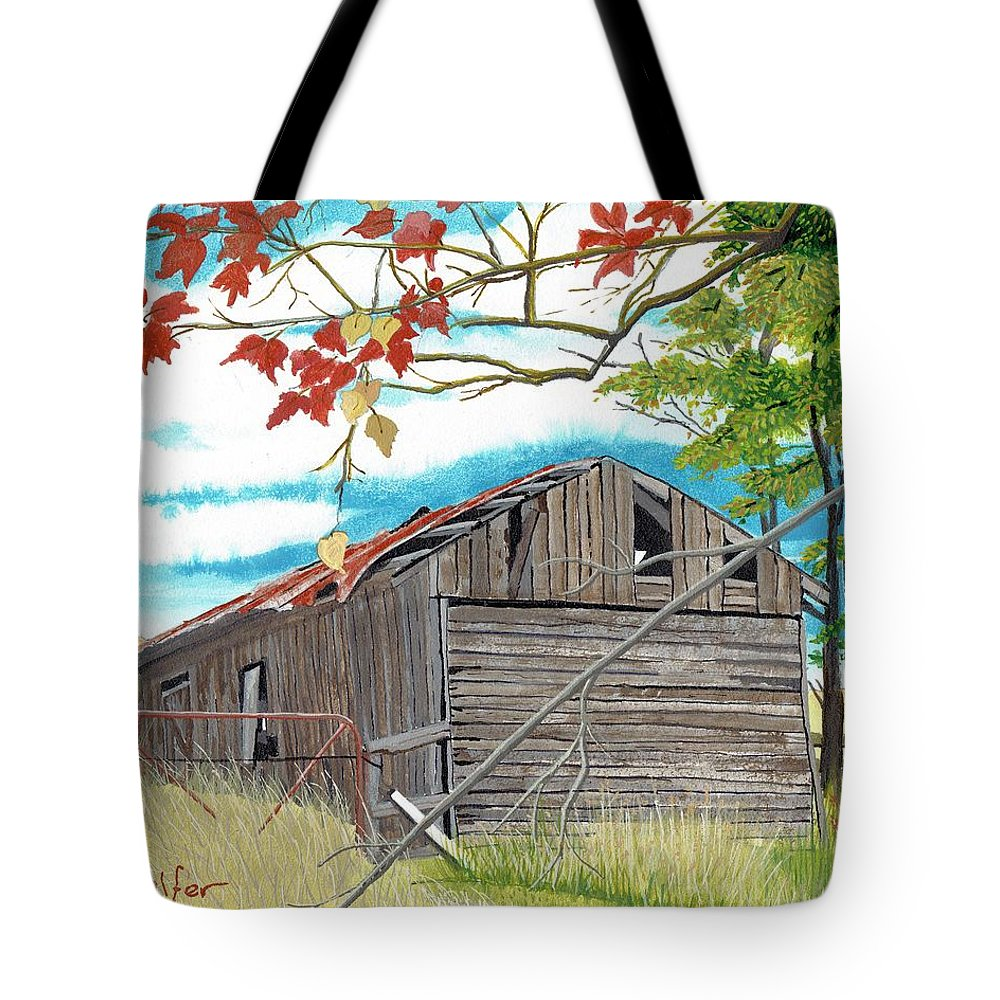 Barn Tote Bag featuring the painting Fall Barn by David Wolfer