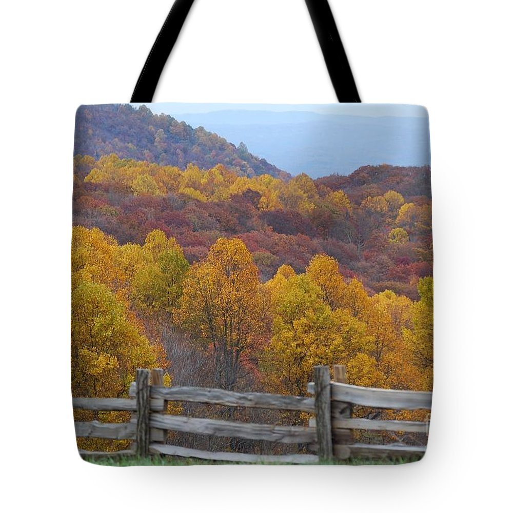 Fence Tote Bag featuring the photograph Fall Blend by Eric Liller