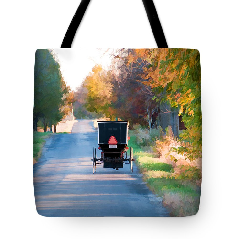 Amish Tote Bag featuring the photograph Fall Buggy by David Arment