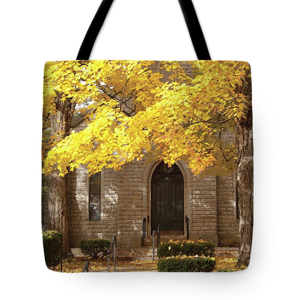 Autumn Tote Bag featuring the photograph Fall Church by Richard Larson