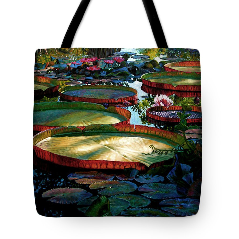 Landscape Tote Bag featuring the painting Fall Colors In The Morning Sun by John Lautermilch