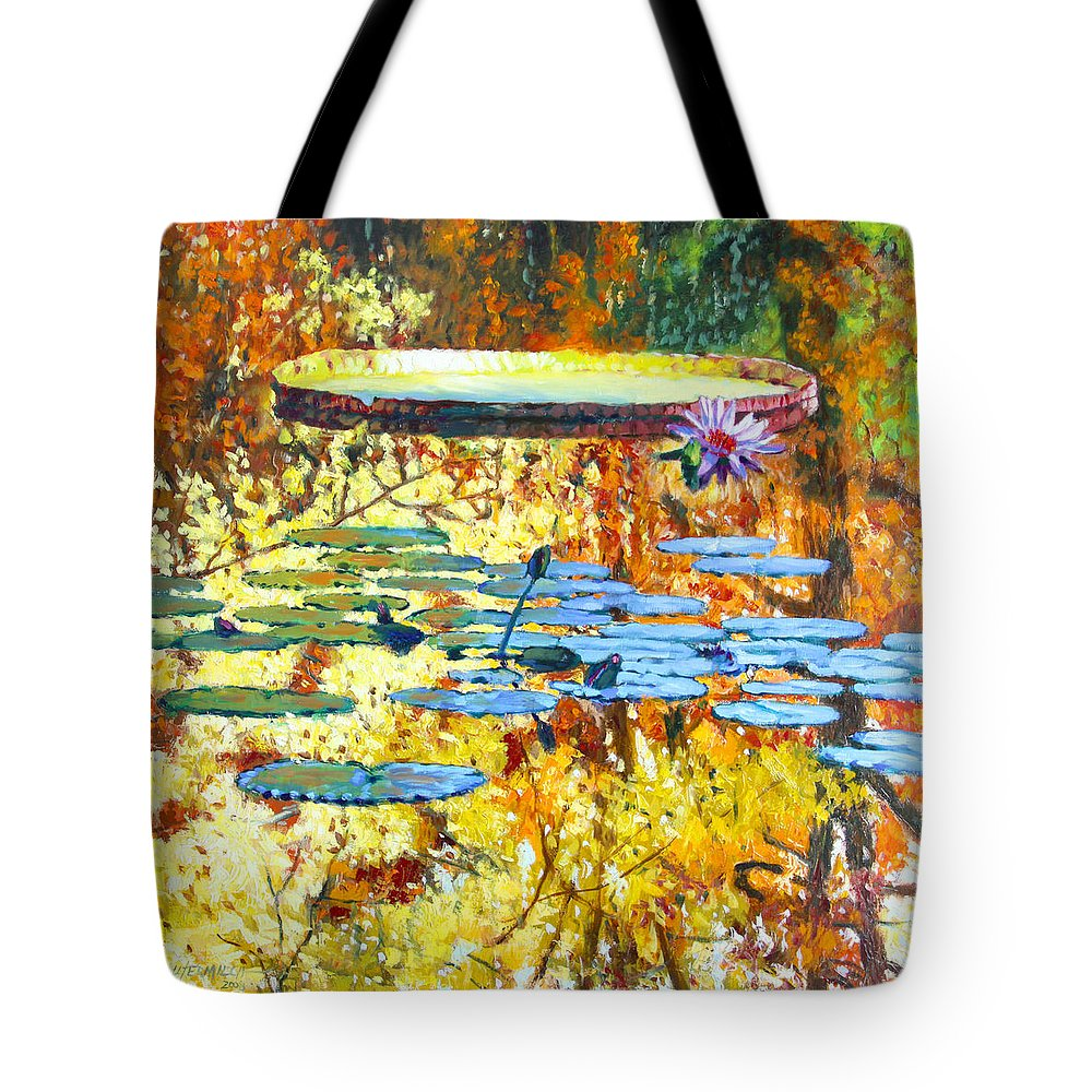 Fall Tote Bag featuring the painting Fall Colors On The Lily Pond by John Lautermilch