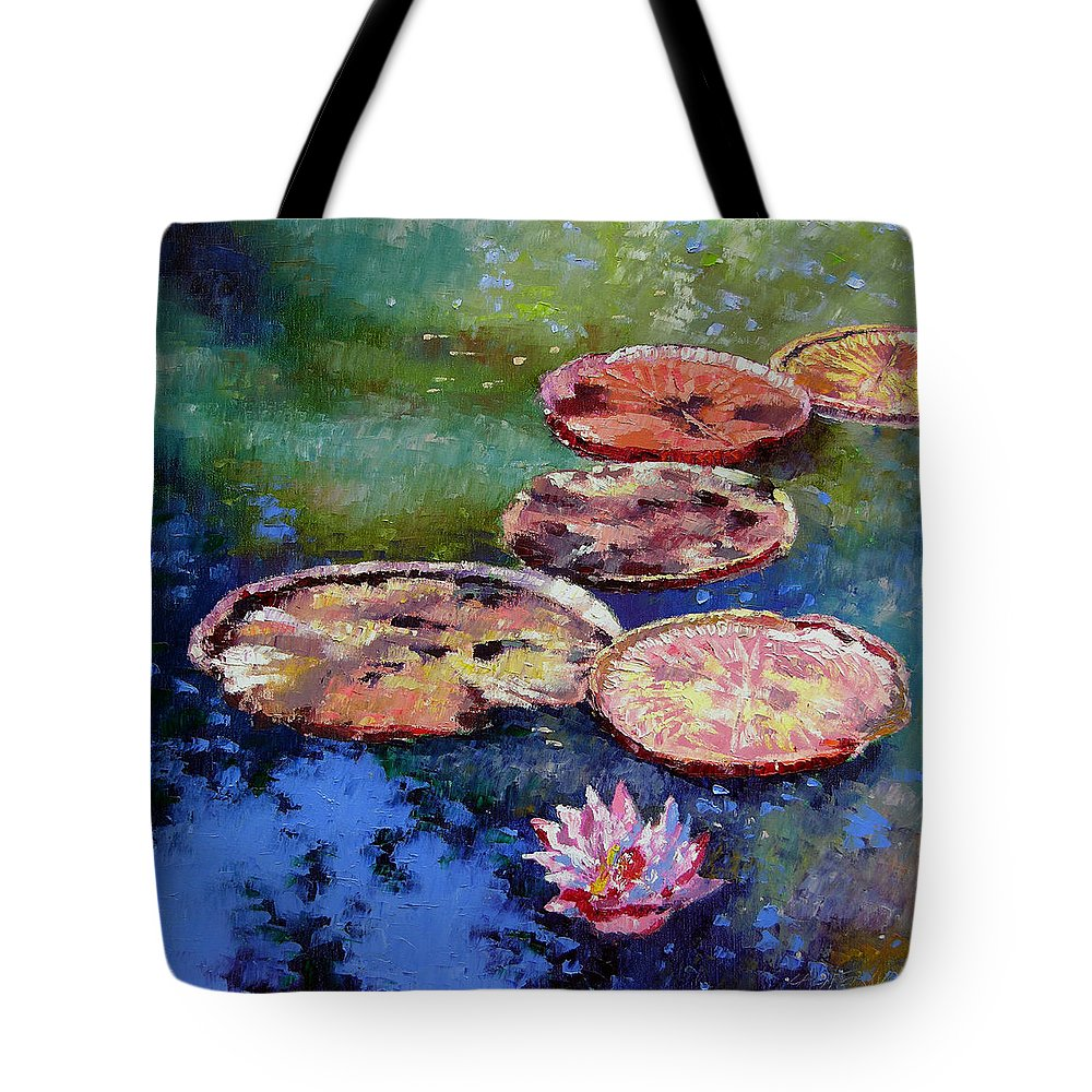 Fall Water Lilies Tote Bag featuring the painting Fall Colors On The Pond by John Lautermilch