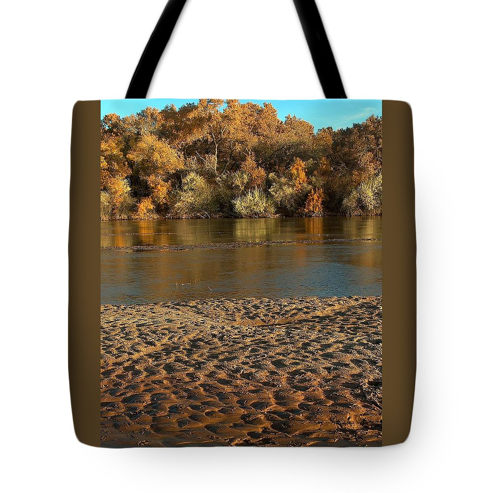 Fall Colors Tote Bag featuring the photograph Fall Colors On The Rio Grande 1 by Tim McCarthy