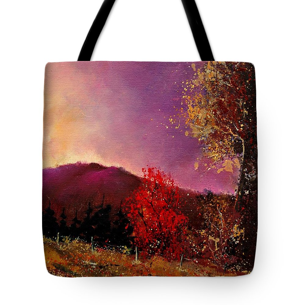 River Tote Bag featuring the painting Fall Colors by Pol Ledent