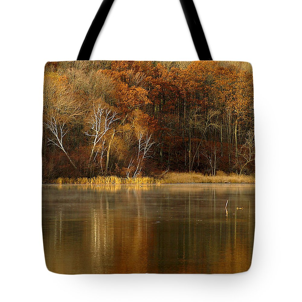 Lake Tote Bag featuring the photograph Fall Cove by Thomas Young