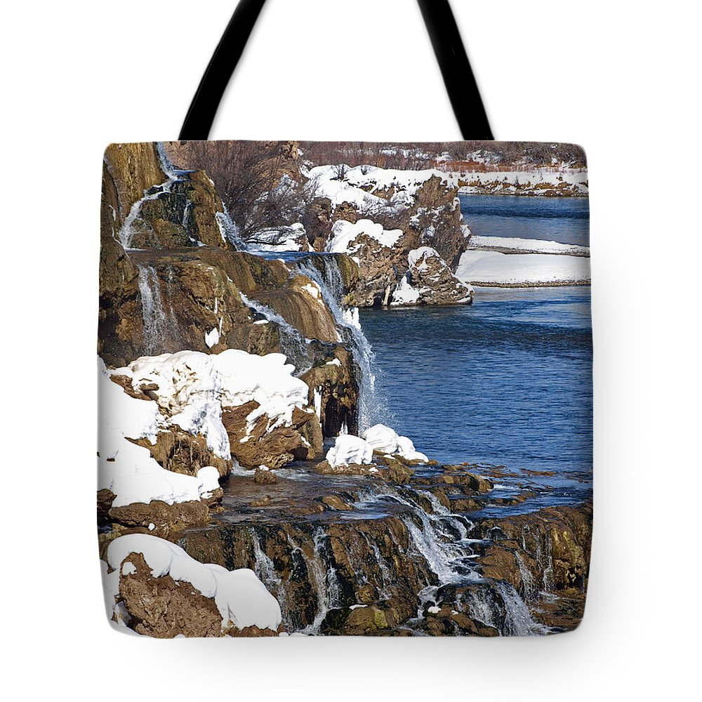 Water Tote Bag featuring the photograph Fall Creek Falls In Winter by DeeLon Merritt