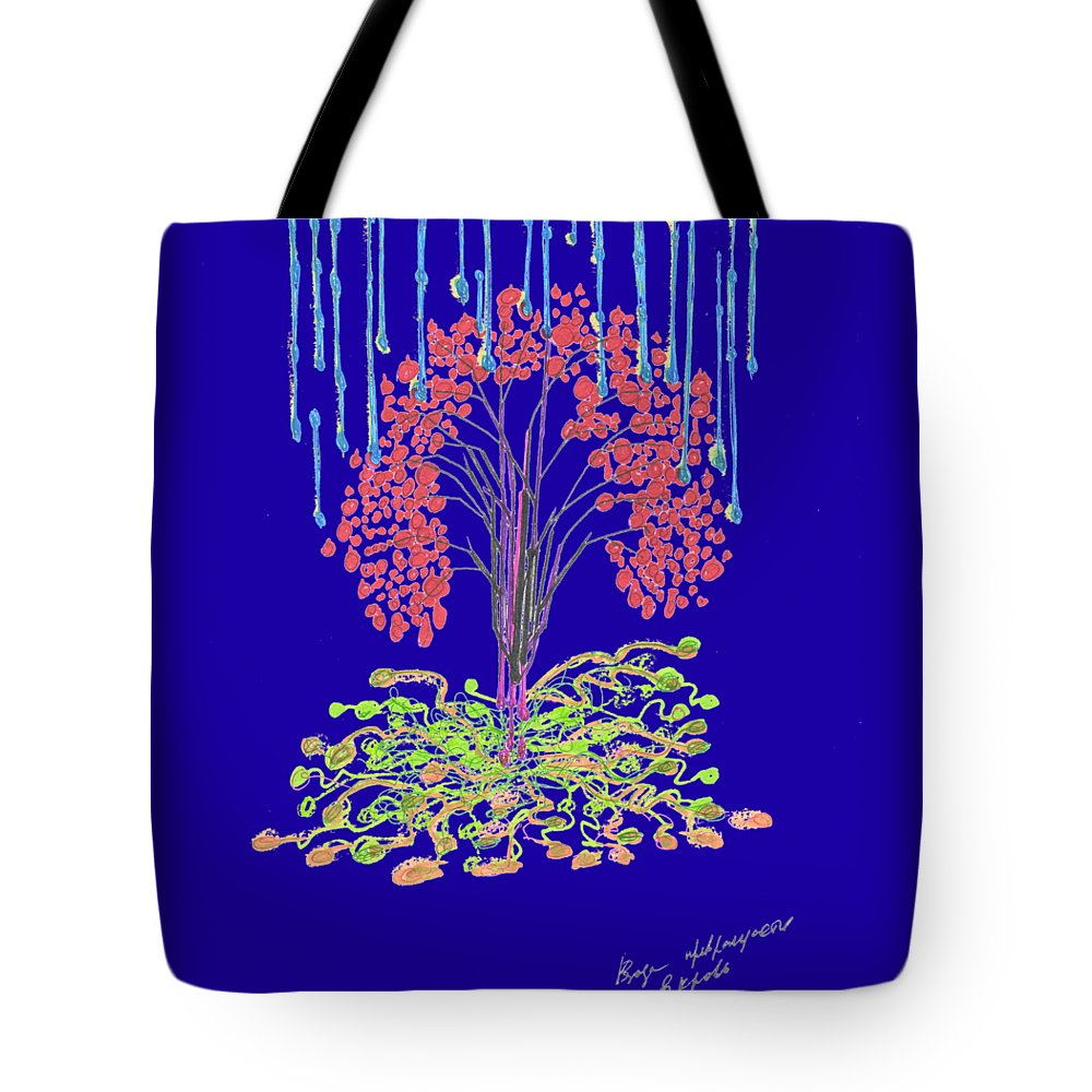 Red Tote Bag featuring the painting Fall. Day. 23 September, 2015, Nizhny Novgorod by Tatiana Chernyavskaya