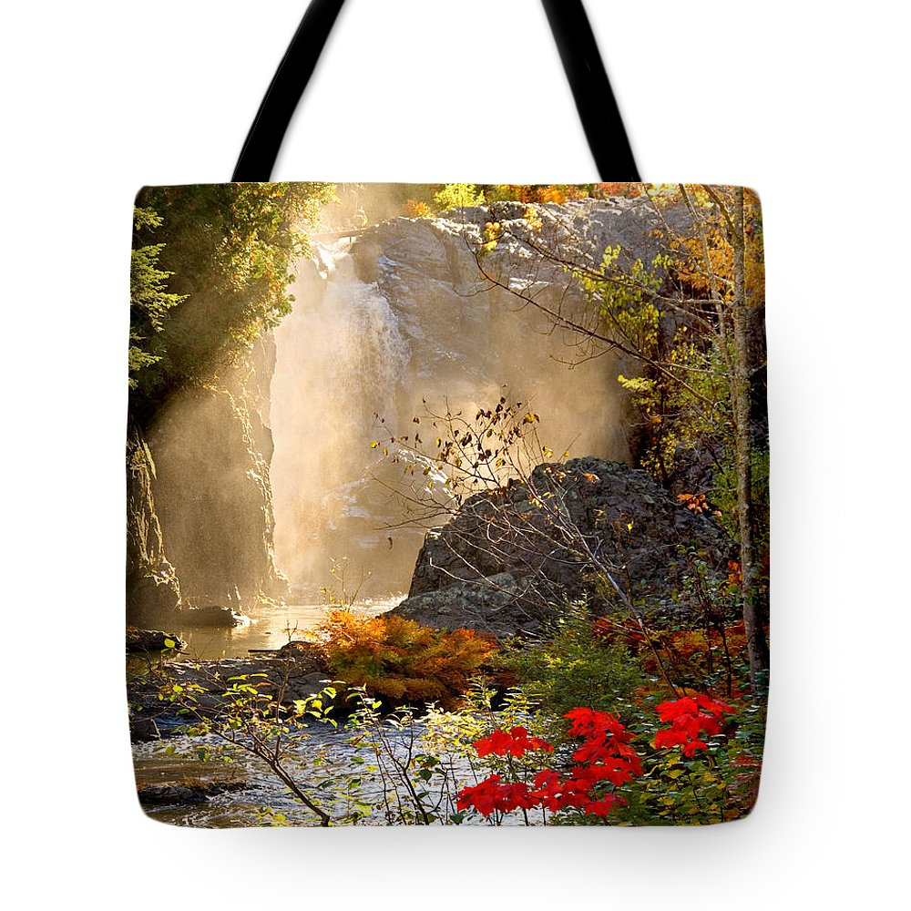 Fall Tote Bag featuring the photograph Fall Falls Mist Dead River Falls Marquette Mi by Michael Bessler