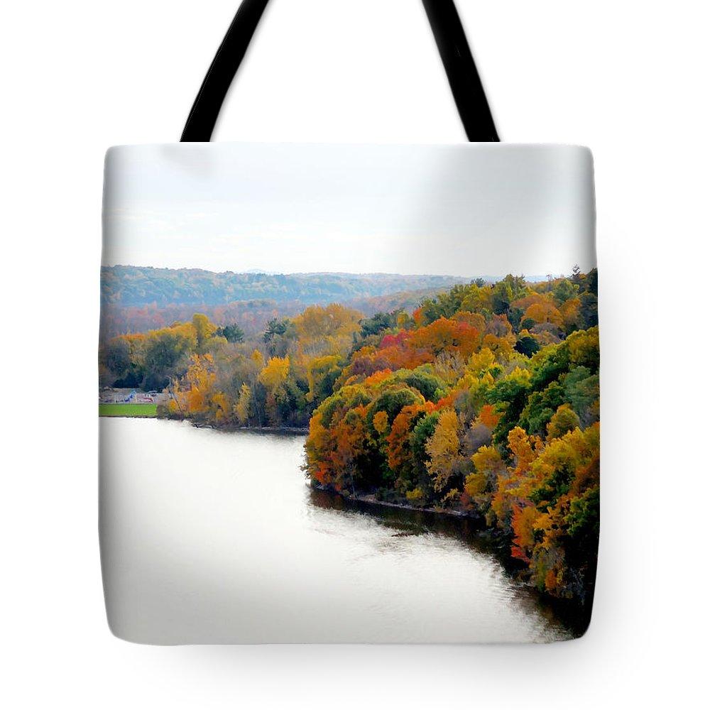 Fall Foliage In Hudson River Tote Bag featuring the painting Fall Foliage In Hudson River 13 by Jeelan Clark