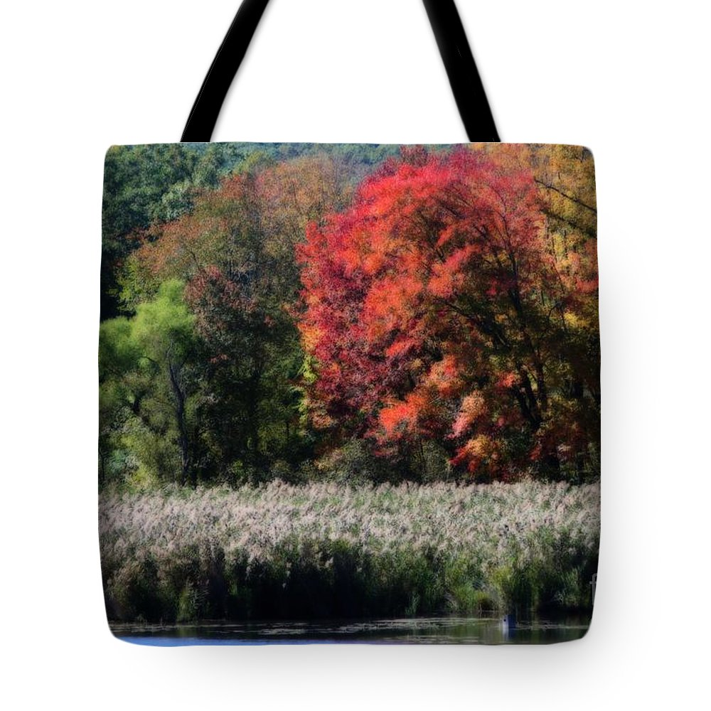 Autumn Tote Bag featuring the photograph Fall Foliage Marsh by Smilin Eyes Treasures