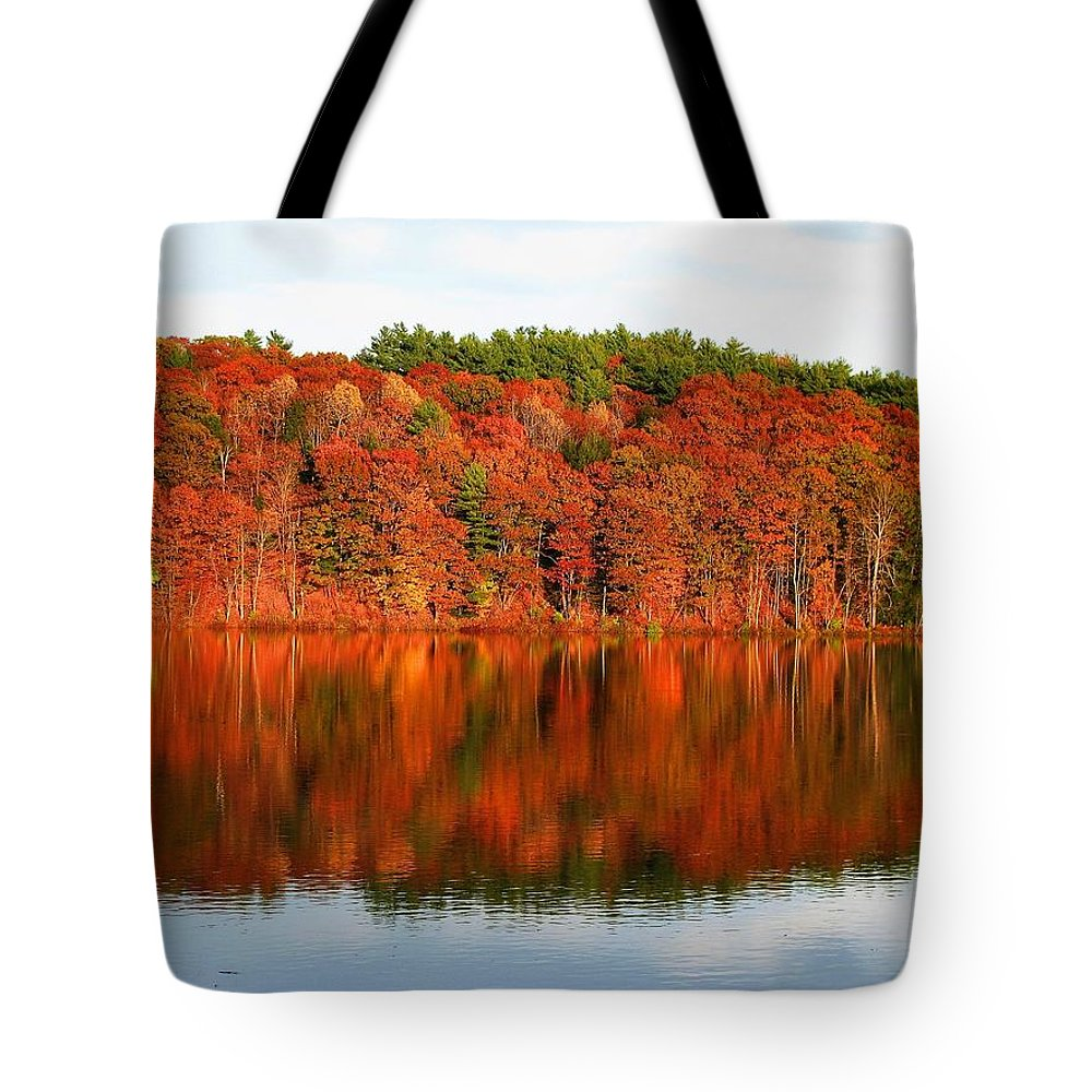 Maine Tote Bag featuring the photograph Fall Foliage Reflection Kennebec River Hallowell by David Rafuse Captured Images of Maine