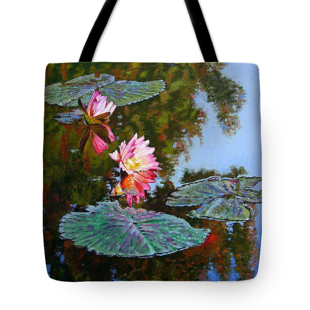 Water Lily Tote Bag featuring the painting Fall Glow by John Lautermilch
