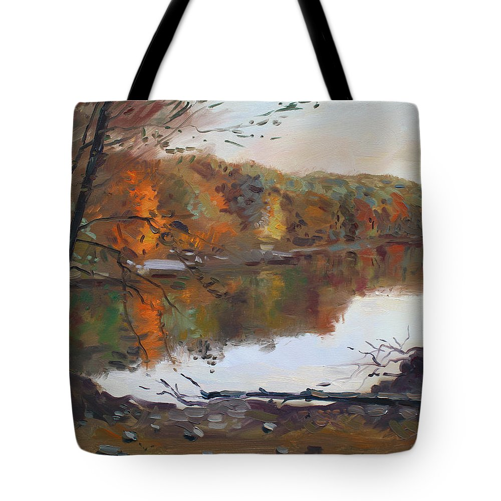 Landscape Tote Bag featuring the painting Fall In 7 Lakes by Ylli Haruni