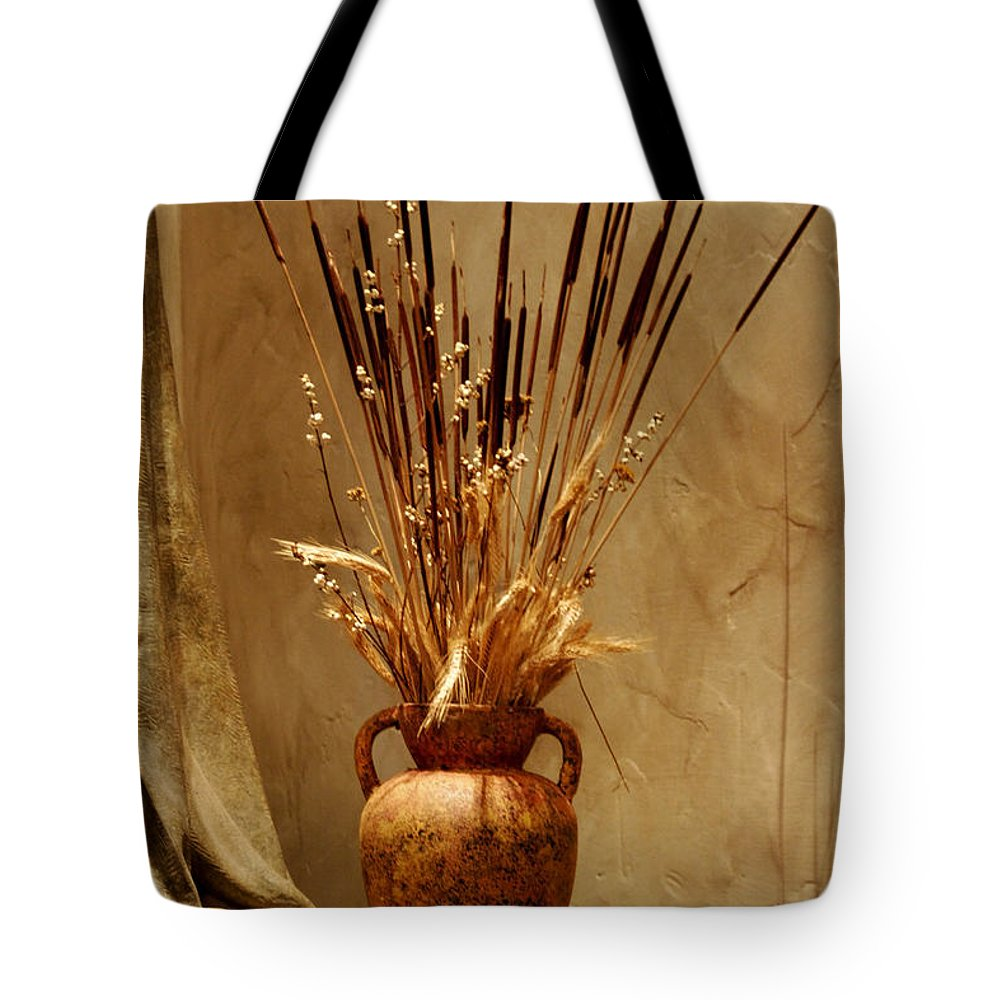 Fall Tote Bag featuring the photograph Fall In A Vase Still-life by Christine Till