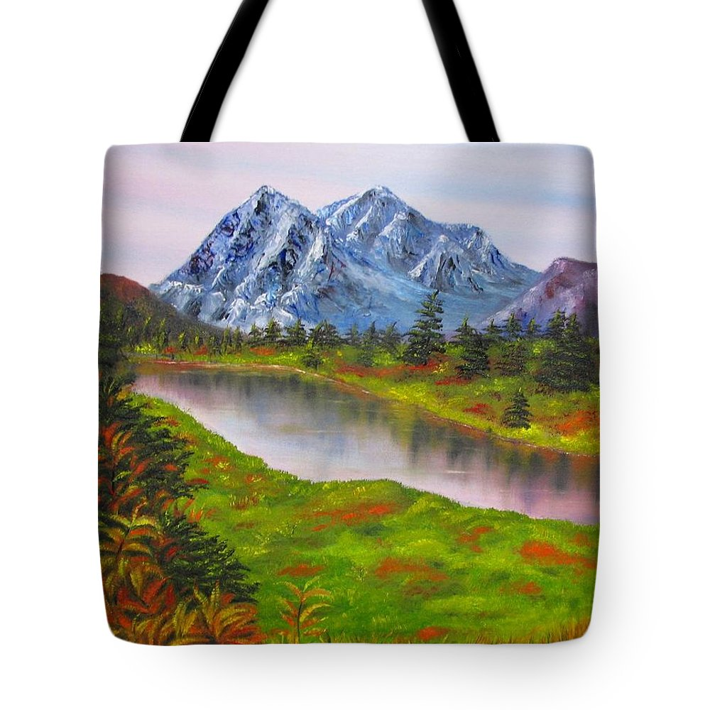 Fall Tote Bag featuring the painting Fall In Mountains Landscape Oil Painting by Natalja Picugina