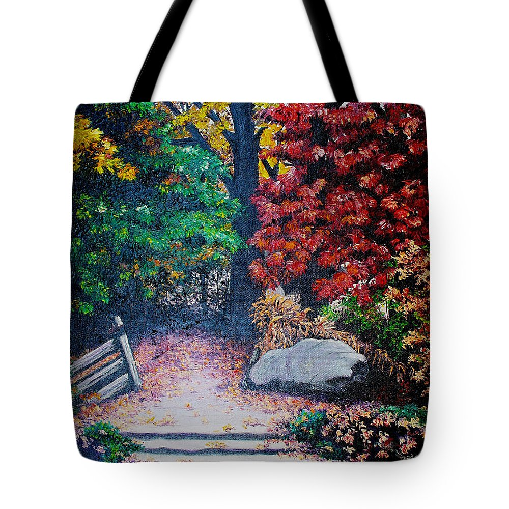 A N Original Painting Of An Autumn Scene In The Gateneau In Quebec Tote Bag featuring the painting Fall In Quebec Canada by Karin Dawn Kelshall- Best