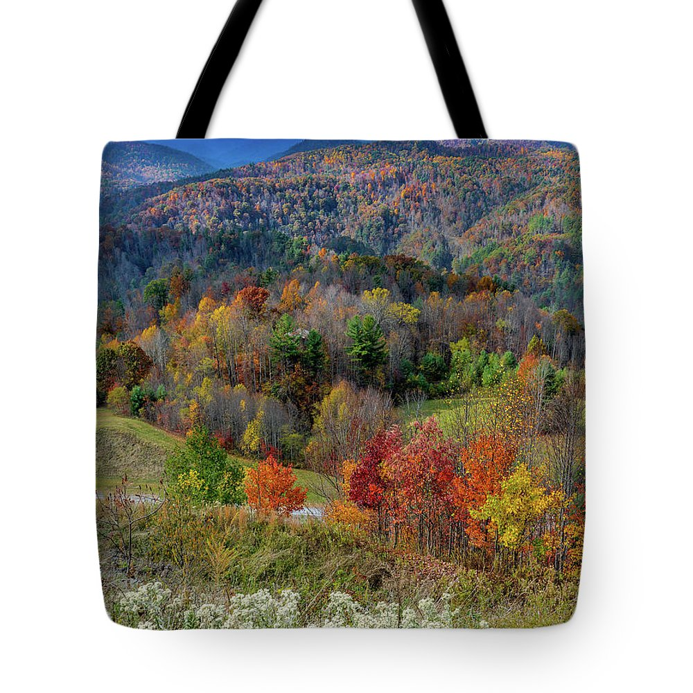 Fall Tote Bag featuring the pyrography Fall In Tennessee by David Meznarich