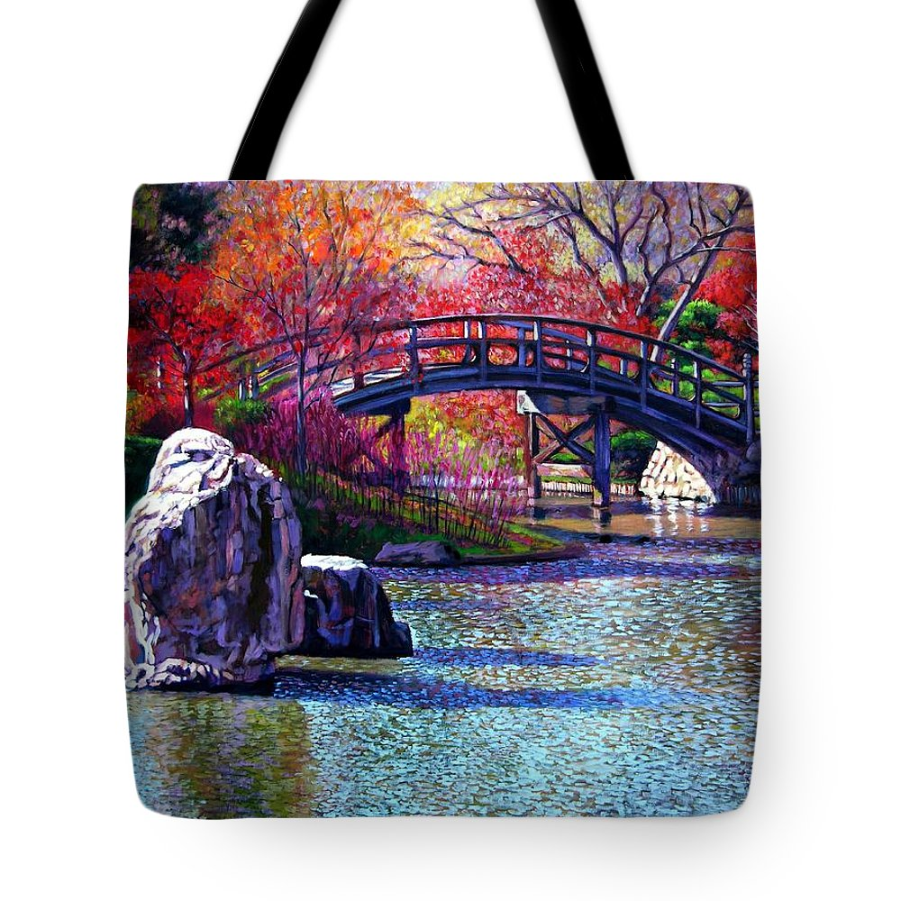 Garden Tote Bag featuring the painting Fall In The Garden by John Lautermilch