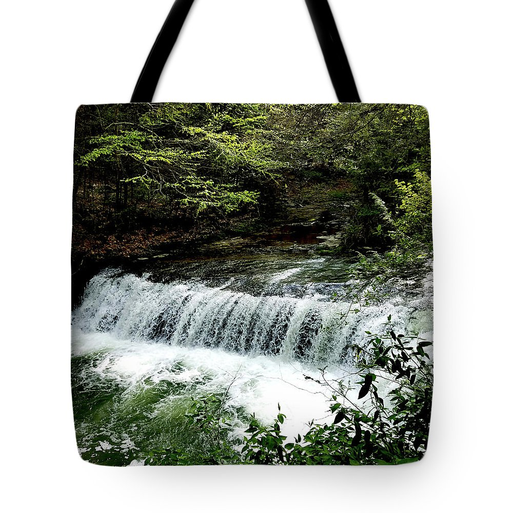 Waterfalls Tote Bag featuring the photograph Fall In The Quiet by Kelly Cullen
