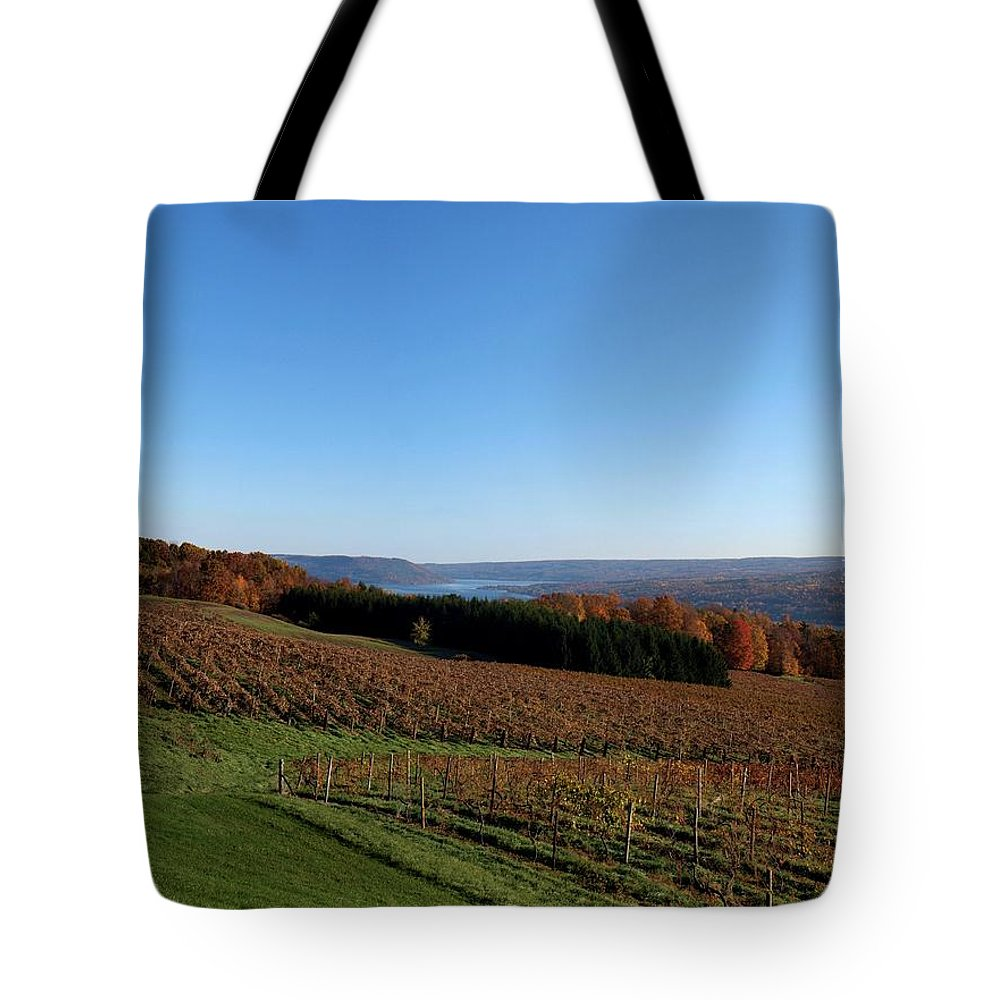 Vineyard Tote Bag featuring the photograph Fall In The Vineyards by Joshua House