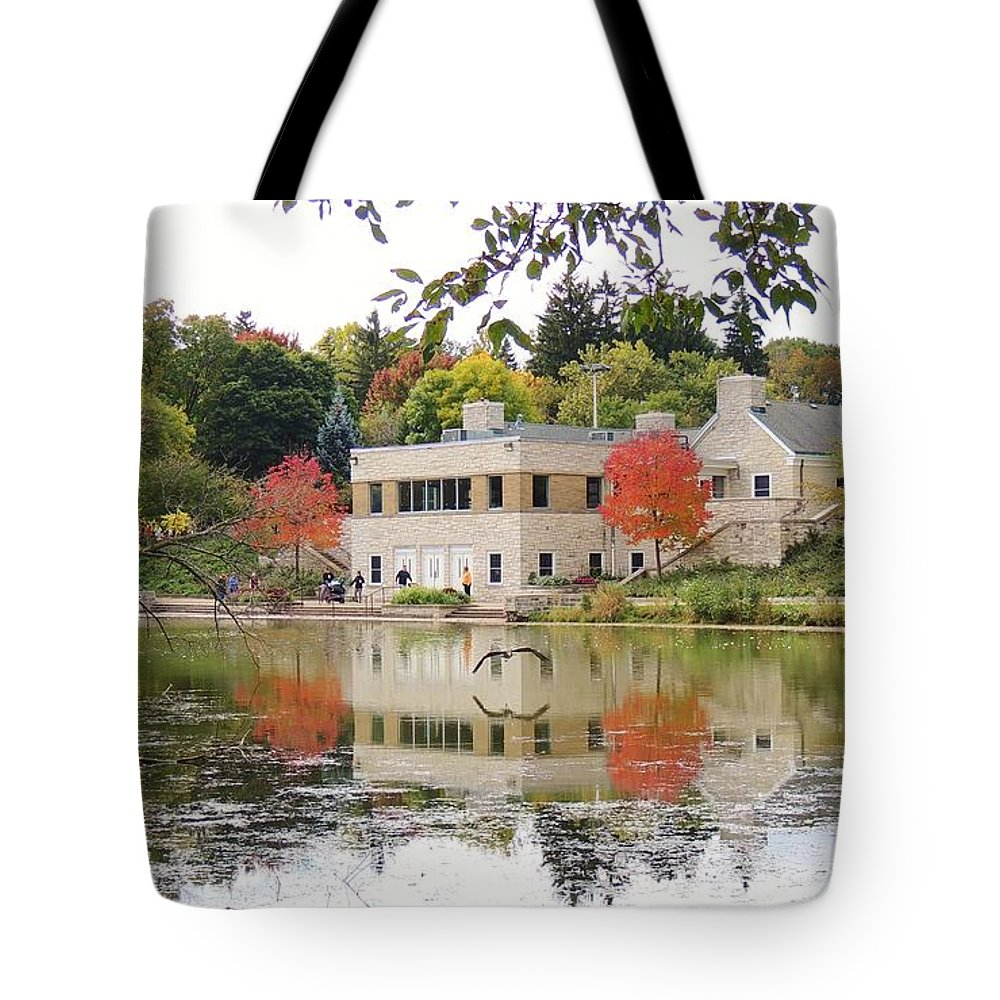 Greenfield Tote Bag featuring the photograph Fall Into Pond Life by Red Cross