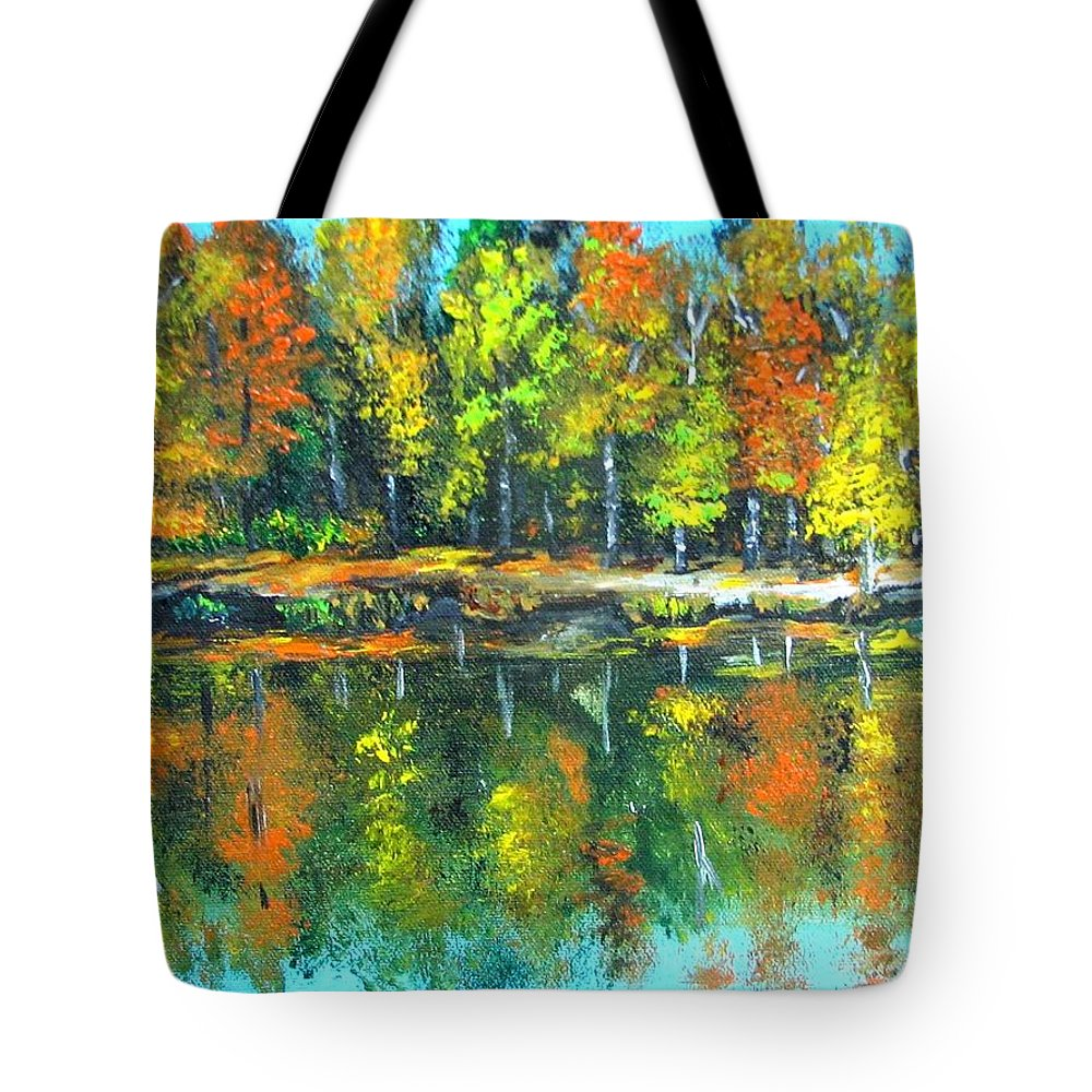 Fall Tote Bag featuring the painting Fall landscape acrylic painting framed by Natalja Picugina