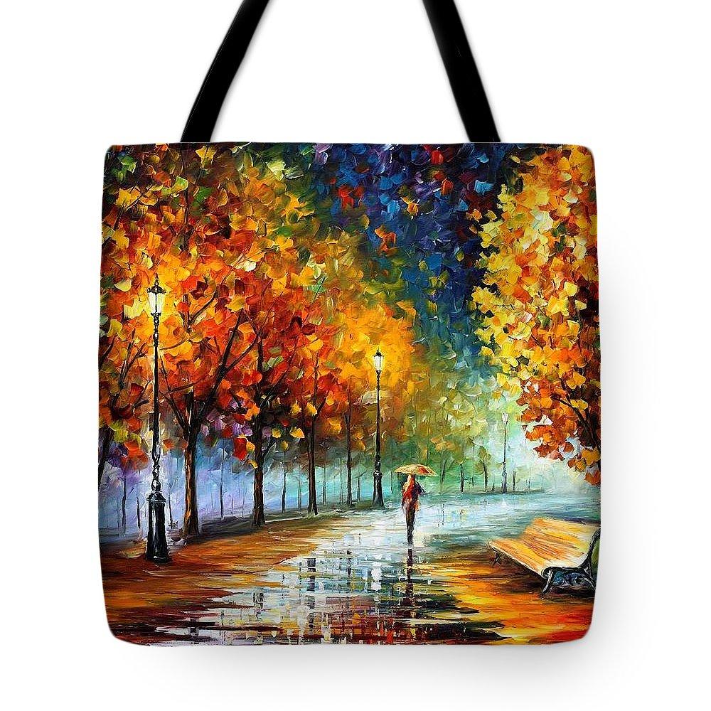 Afremov Tote Bag featuring the painting Fall Marathon by Leonid Afremov