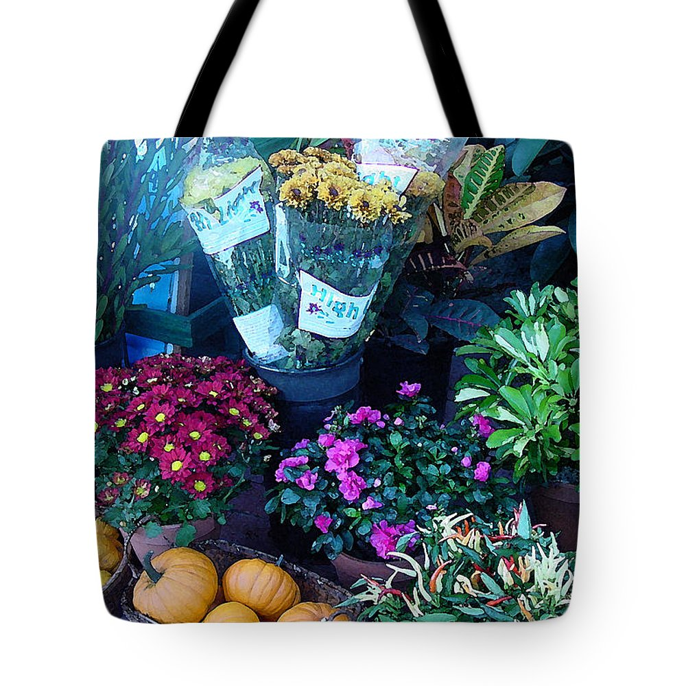 Fall Tote Bag featuring the photograph Fall Market Scene In Watercolor by Suzanne Gaff